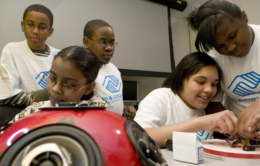 Boys & Girls Club participants build ladybug hemi speakers