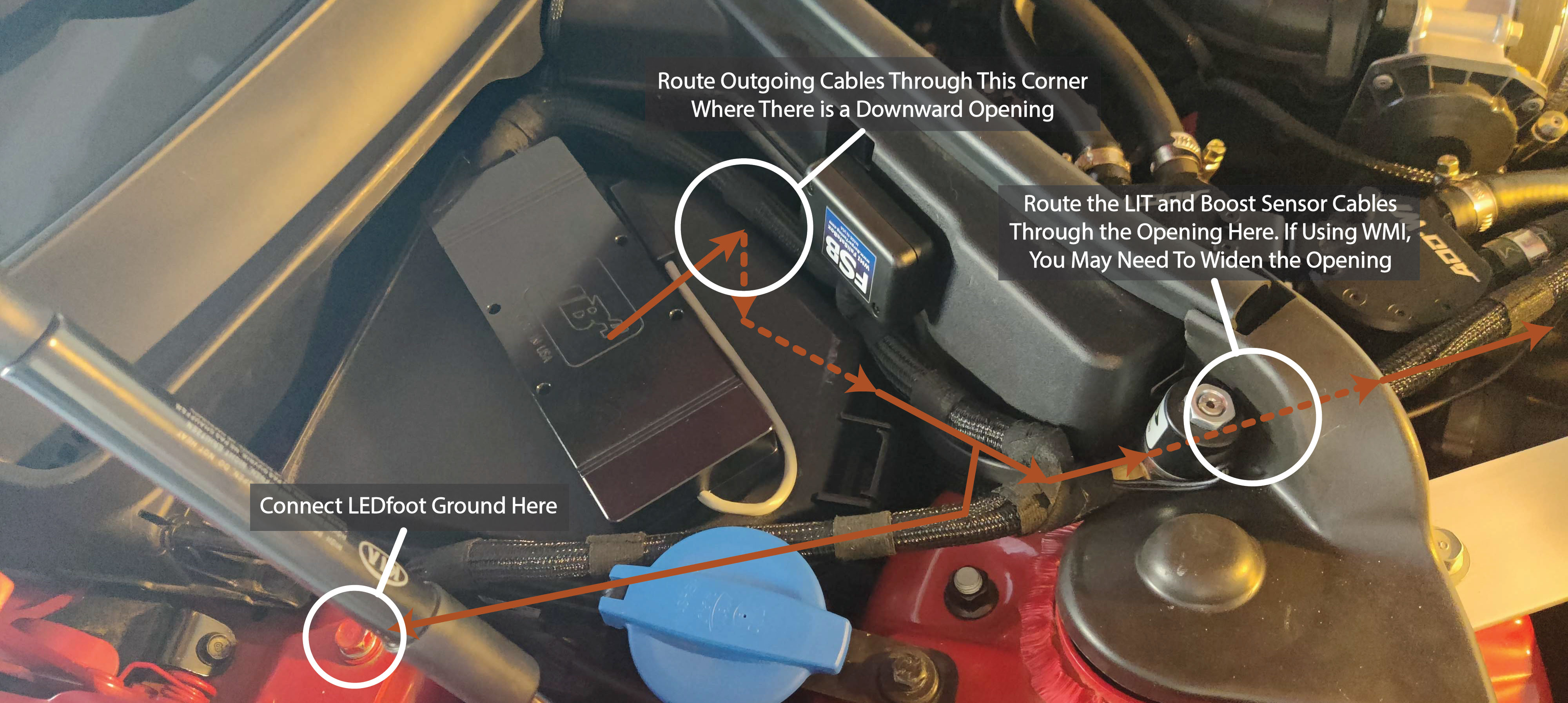 Figure 3. Routing LEDfoot Cabling Around the Fuse Box